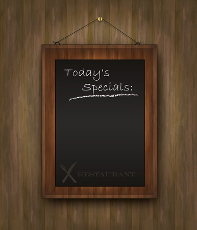 vector blackboard wood menu Todays special black Vector