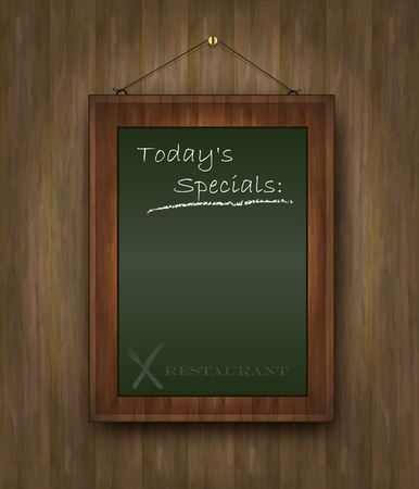 vector blackboard wood menu Todays special restaurant green Stock Vector - 10754351