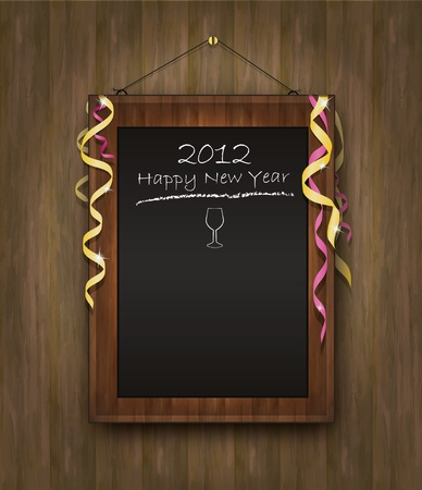 blackboard black wood menu 2012 happy new year Vector