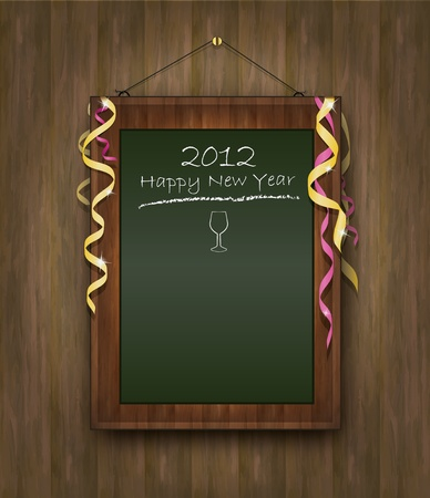 blackboard green wood menu 2012 happy new year Stock Vector - 10785319