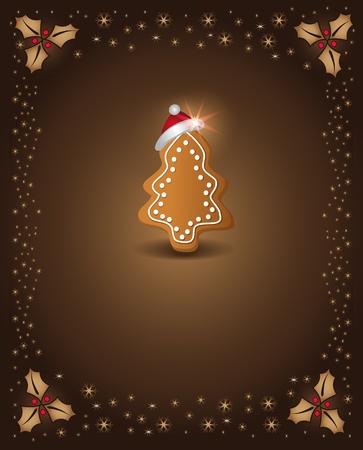 noel chocolat: Carte de No�l en pain d'�pice au chocolat arbres f�licitations template