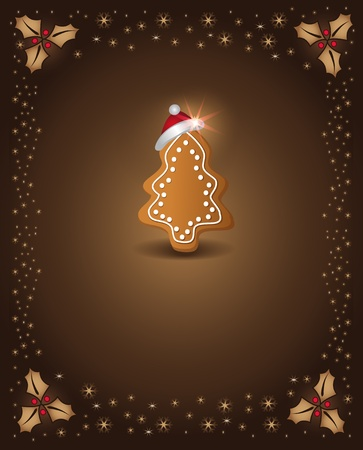 Christmas card chocolate gingerbread tree congratulations template Stock Vector - 10833725