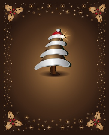 Christmas card chocolate tree congratulations template Vector