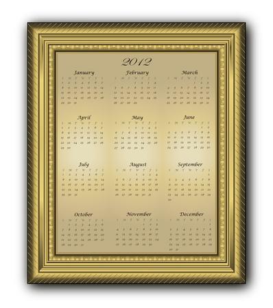 Calendar elegant Frame gold 2012 Vector