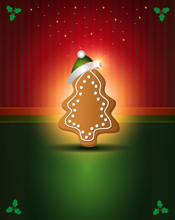 Christmas cards Red Green gingerbread congratulations template Vector