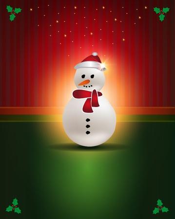 Christmas cards Red Green snowman congratulations template Vector