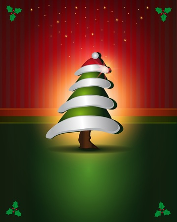 Christmas cards Red Green tree congratulations template Vector