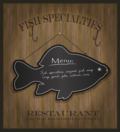vector Blackboard fish restaurant menu card Illustration