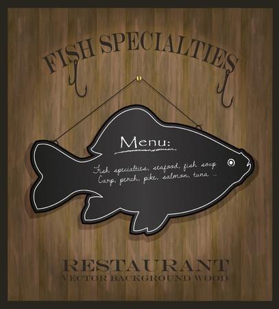 vector Blackboard fish restaurant menu card Stock Illustratie