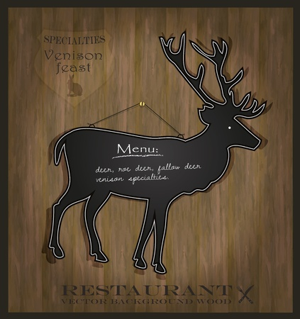 vector Blackboard deer restaurant menu card Vector