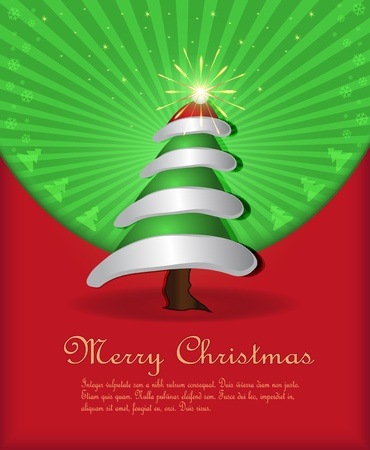 vector Christmas congratulations red green tree cap fireworks Vector