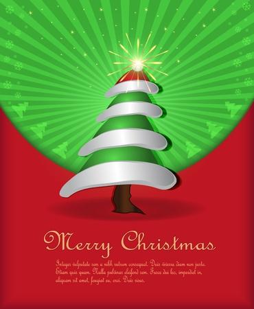 vector Christmas congratulations red green tree cap fireworks Vector