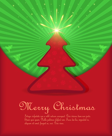 vector Christmas congratulations red green tree star fireworks Vector