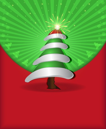 raster Christmas congratulations red green tree cap fireworks photo