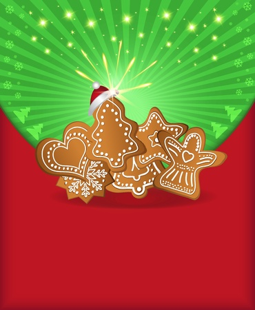 raster Christmas congratulations red green gingerbread photo