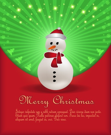 Christmas congratulations red green snowman Vector