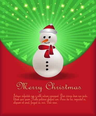 Christmas congratulations red green snowman Vector