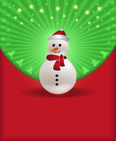 raster Christmas congratulations red green snowman photo