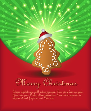 Christmas congratulations red green tree gingerbread Vector
