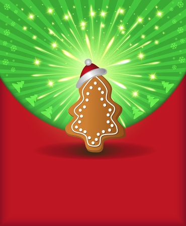 raster Christmas congratulations red green tree gingerbread photo
