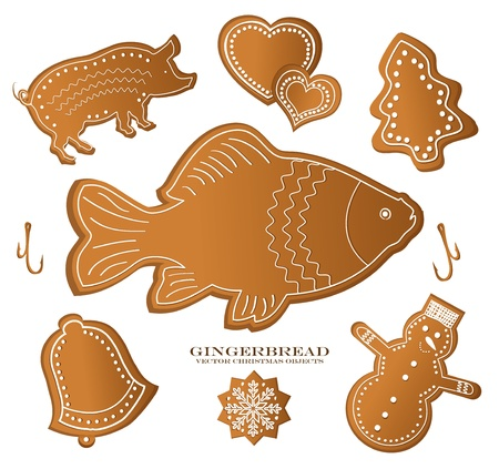 christmast gingerbread figure fish carp pig Vector