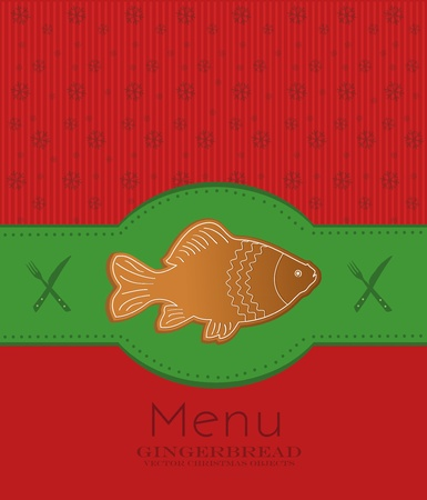 christmas menu card gingerbread fish carp Vector
