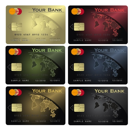 red cards: vector Credit card Colors