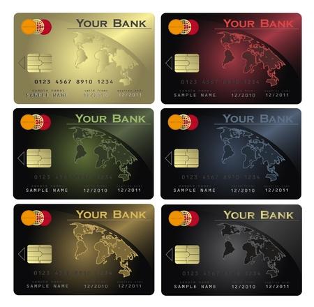 carta credito: vettore carta di credito Colori Vettoriali