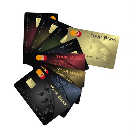 raster Credit card fan vertical photo
