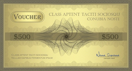 vector Voucher gold Guilloche coupon certificate