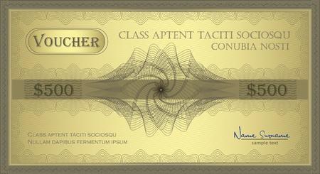 vector Voucher gold Guilloche coupon certificate
