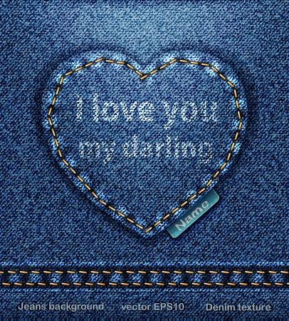 vector Jeans heart denim texture Vector