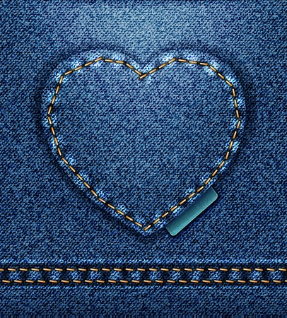 raster Jeans heart denim texture Stock Photo