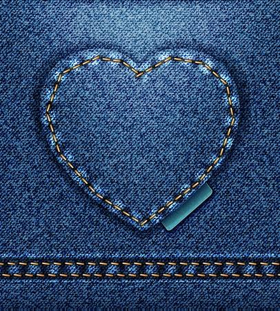 raster Jeans heart denim texture Stock Photo