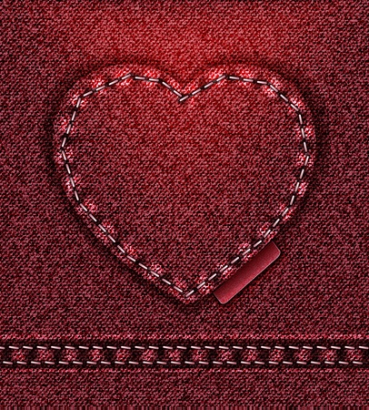 raster Jeans heart red denim texture photo