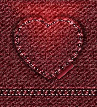 raster Jeans heart red denim texture photo