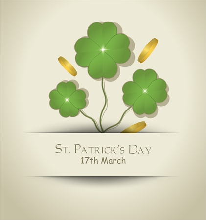 vector St. Patrick Day Cloverleaf card paper  Vector