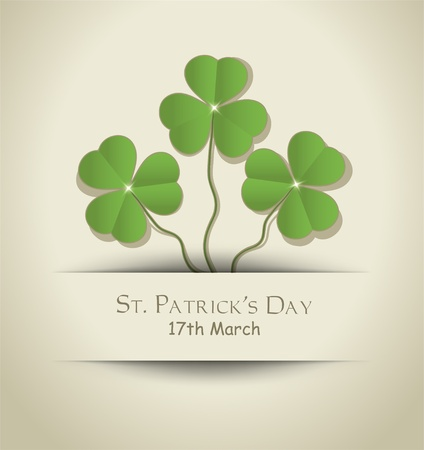 St. Patrick Day Shamrock card paper Vector