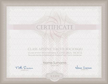 Vector Certificate Guilloche horizontal security Stock Illustratie