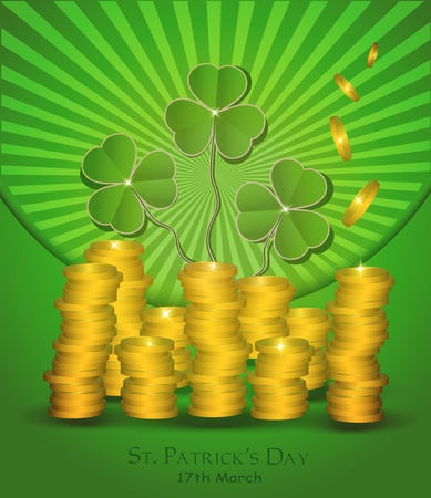 vector St. Patrick day money coin green Stock Vector - 12208897
