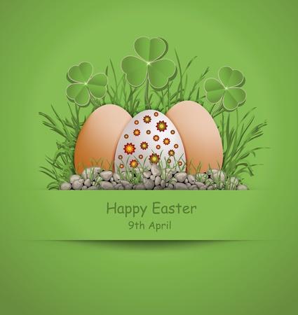eggshells: Huevo de Pascua de color verde Vectores