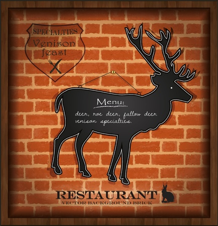 vector blackboard deer menu card brick wall background  Vector
