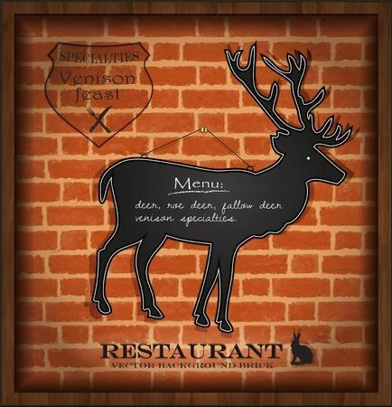 vector blackboard deer menu card brick wall background  Vector