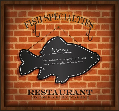 vector blackboard fish menu card brick wall background restaurant Vector