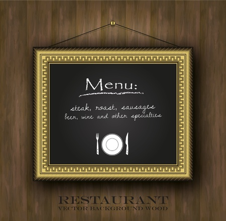 vector blackboard frame gold restaurant menu card old frame  Vector