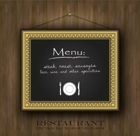 vector blackboard frame gold restaurant menu card old frame Stock Vector - 13166261