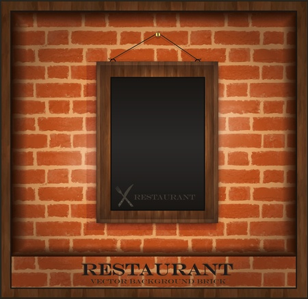 vector blackboard frame wood menu brick wall Vector