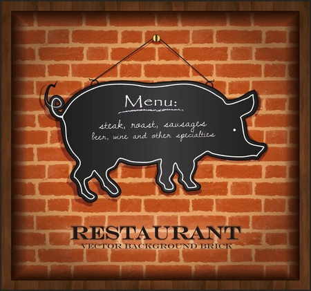 vector blackboard pig menu card brick wall background Vector