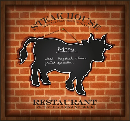 vector blackboard cow bull menu card brick wall background restaurant  Vector