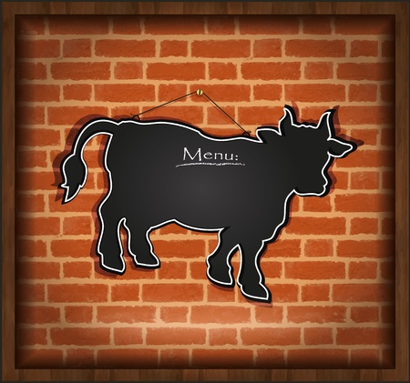 raster blackboard cow bull menu card brick wall background Stock Photo - 13166259